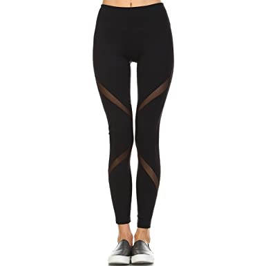Mono B Womens Super Soft Mesh Panel Full Leggings