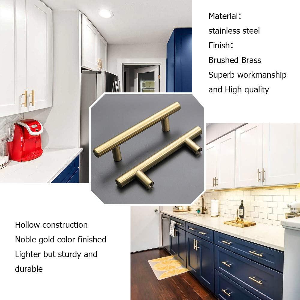 3  Cabinet Pulls Gold Cabinet Handles 26Pack goldenwarm LS201GD76 Brushed Brass Dresser Handles Kitchen Handles for Cabinets 5 Length 3 Hole Center