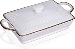 Ceramic Casserole Dish with Lid, Covered Baking Dish Lasagna Pans Porcelain Large 11 X 6 inch Rectangula White, Oven Freezer and Dishwasher Safe -JH JIEMEI HOME