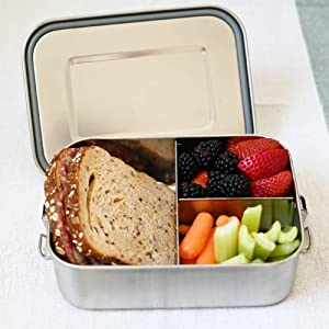 [Owlet Home] Bento lunch box leak-proof Tri Stainless Steel Lunch Container for Kids or Adults, Eco-Friendly, BPA Free, Chemical Free, Dishwasher-Safe, Leak Proof With Upgrade Lock, Large size