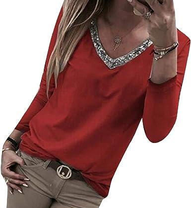 Andopa Tamaño de cuello V sólido de color Plus parcheado la blusa de la camisa de tes para Mujeres Vino rojo Grande: Amazon.es: Ropa y accesorios