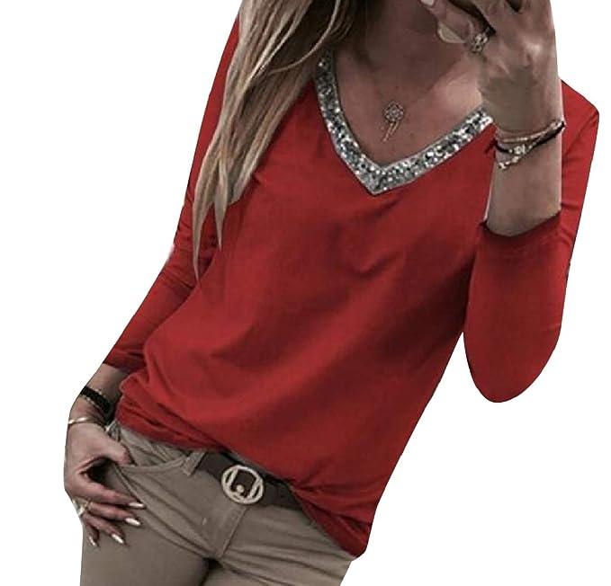 Andopa Tamaño de cuello V sólido de color Plus parcheado la blusa ...