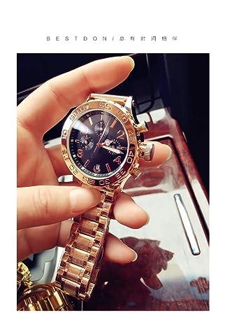 LKTGBRCVZJU Relojes Marea Tendencia de la Moda Gran dial Acero Correa Pareja Reloj Reloj de Moda