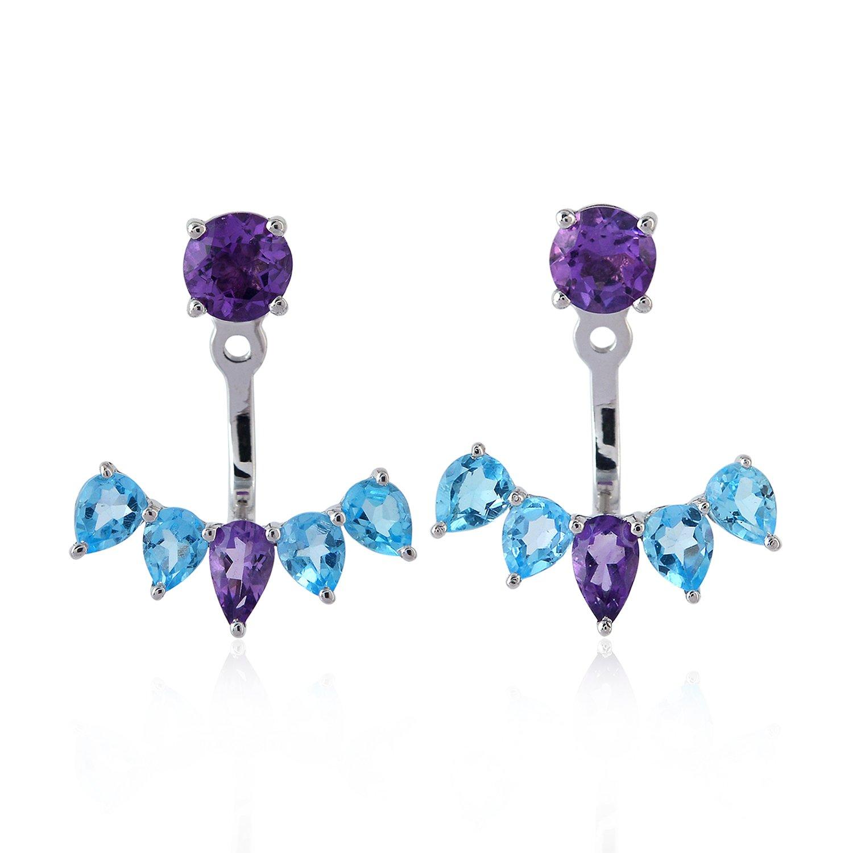 Amethyst & Blue Topaz Gemstone Ear Jacket Stud Earrings 925 Sterling Silver