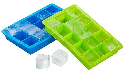 Popowbe 2 paquetes de bandeja de silicona para cubitos de hielo ...