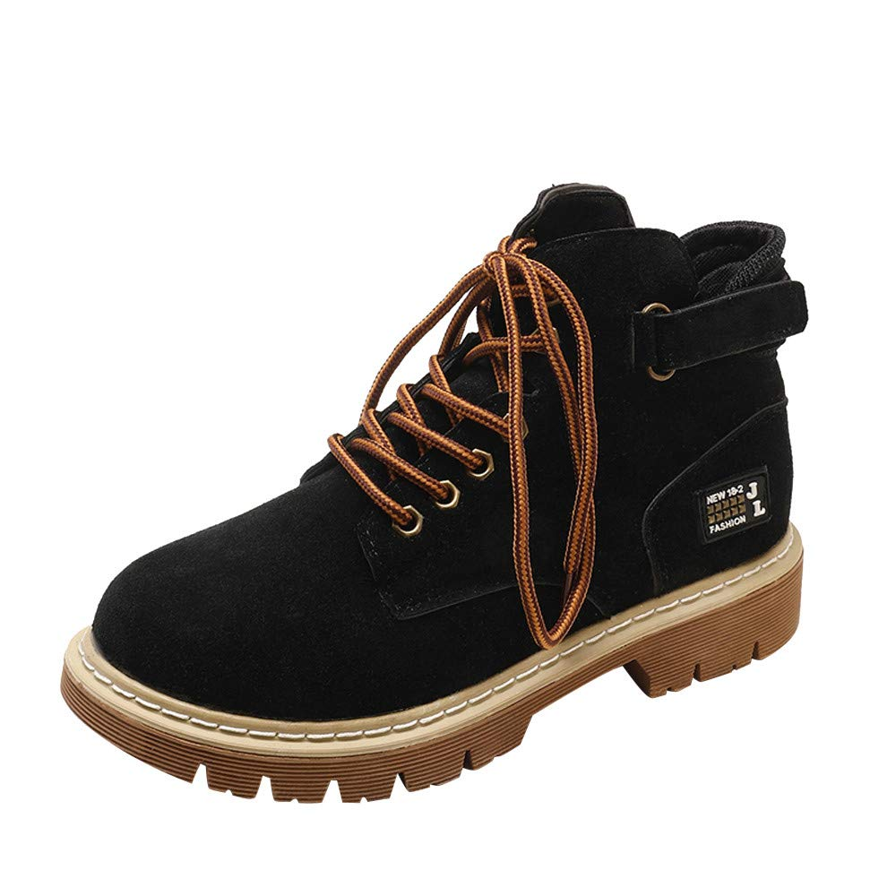 Clearance for Shoes,AIMTOPPY Autumn and Winter Women Retro Casual Flat Round Head Flock Lace-up Martin Boots