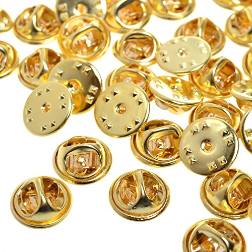 120 Pieces Metal Brass Butterfly Clutch Pin Backs Replacement Badge Insignia Pin Backs (Gold)
