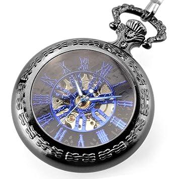 DBBKO Reloj de Bolsillo Tapa Hueco Retro Collar Cuadro Dama Hombre mecánico Reloj de Bolsillo: Amazon.es: Hogar