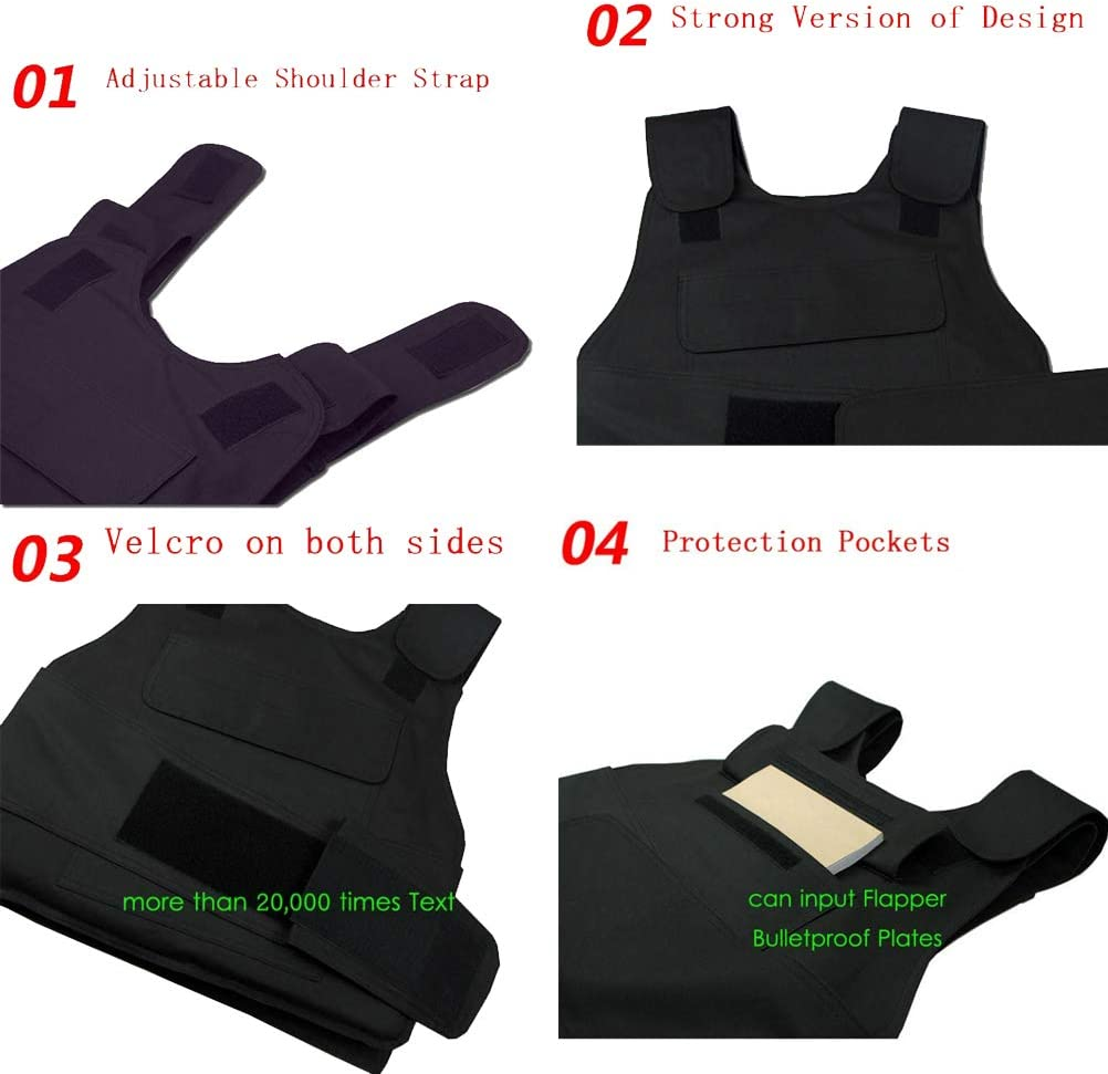 32 Couches Kevlar Bulletproof Vest Gilet S/écurit/é Tactique Militaire Anti-d/éflagrant Self Defense 2.8kg