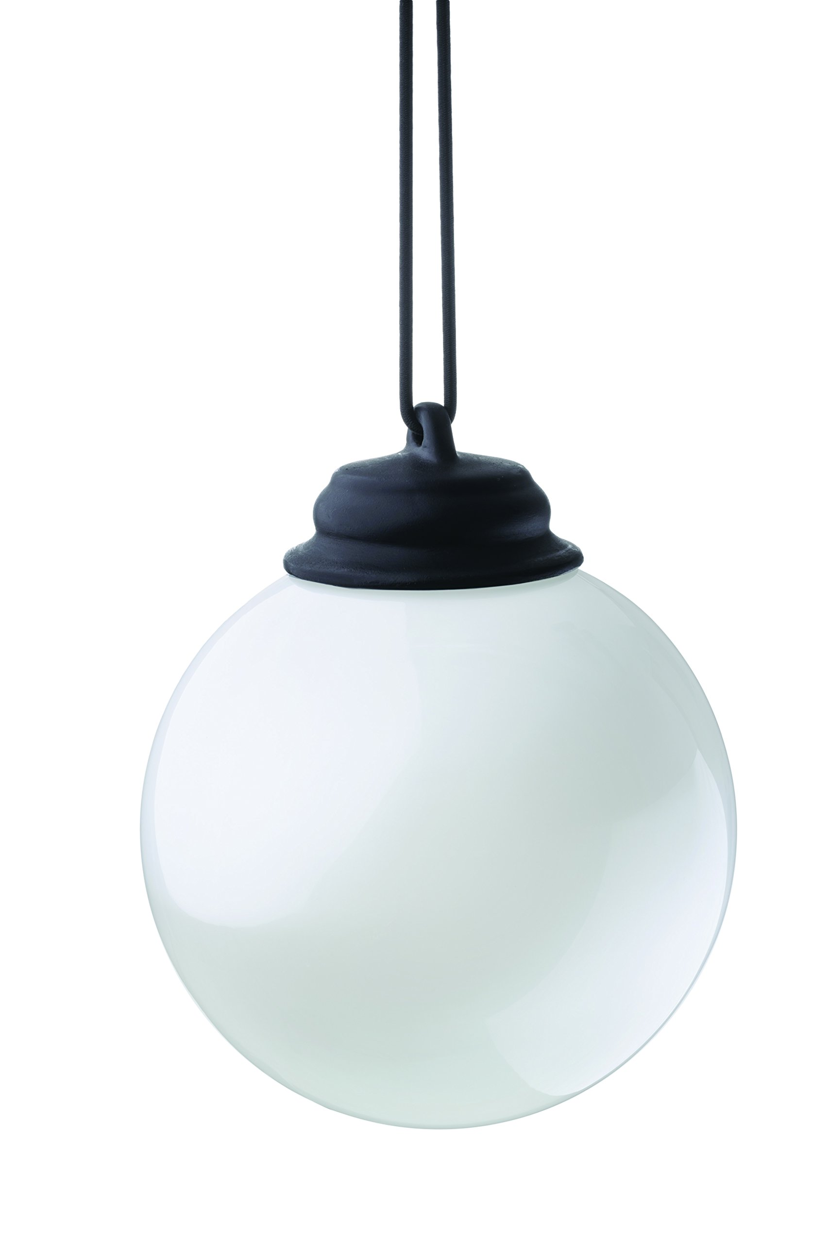 Xodus Innovations WP400 Battery Powered Hanging Decorative Outdoor LED Pulsing 5'' Globe Light with Sensor Turns on at Dark, 5'', White