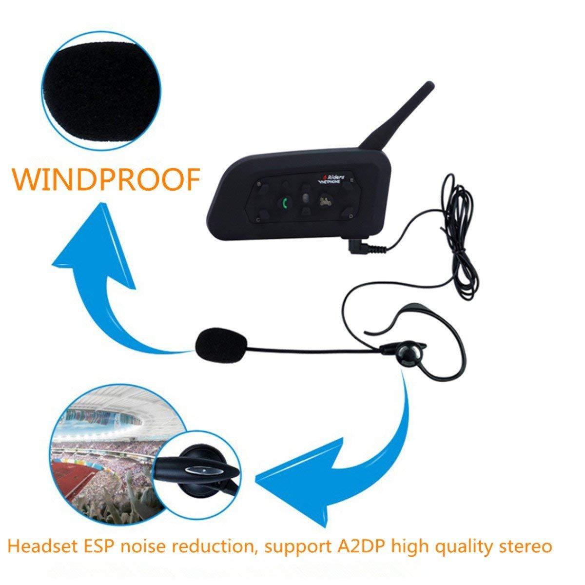V6C BT 3.0 Bluetooth Intercom Full Duplex Scooter Referee Interphone with Armband 6 riders Wireless Waterproof Motorcycle Helmet Earpiece ESoku 4350353407