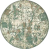 Cheap Vintage Traditional Overdyed Green 8′-Feet Round St. Johns Collection Area rug – Living Dinning Room Bedroom Rugs and Carpets