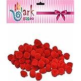 RED Fluffy pom poms - Pack of 100