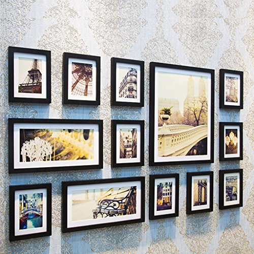 Home@Wall photo frame Home Wood Photo Frame Sets Of 13, Living Room Bedroom Sofa Background Hanging Paintings Aisle Corridor Photo Frame Combination ( Color : A , Size : 13Frames/14090CM ) by ZGP