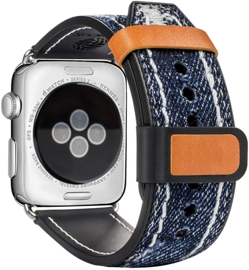 top4cus Compatible with Apple Watch 38mm 42mm Blue Jean Denim Fabric Strap for iWatch Series 1 Series 2 Sereis 3 for Men and Women (42/44mm, Navy Blue)