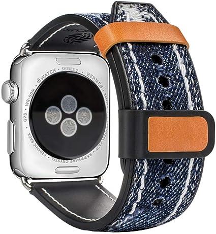 Amazon.com: Apple Watch Banda, top4cus Jean azul de tela ...