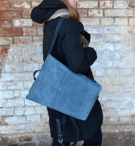 unisex rucksack blue, city rucksack blue, handmade rucksack, leather rucksack blue, rucksack women blue, rucksack backpack by FactoryLeather