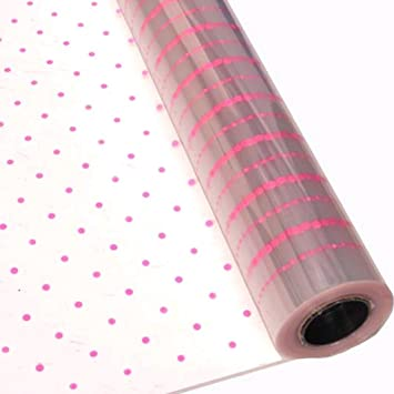 Cellopane clear with white dots 80cm x 3 m FREE Tissue paper x 3 sheets