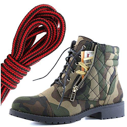 Botas De Combate De Bufanda Con Cordones Militar Para Mujer DailyZapatos Bolsillo De Tarjeta De Crédito Exclusivo De Tobillo Para Mujer, Negro Camuflaje Cv Rojo