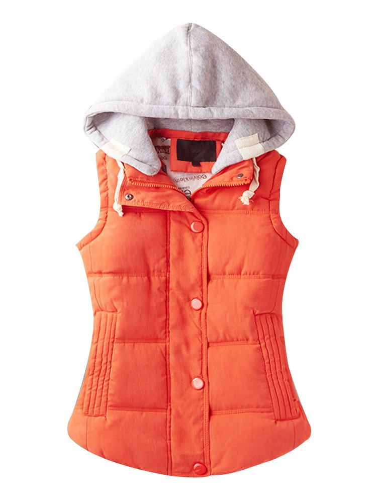 Women's Casual Winter Outerwear Waistcoat Quilted Padded Puffer Vest with Removable Hood Orange Tag 3XL-US L