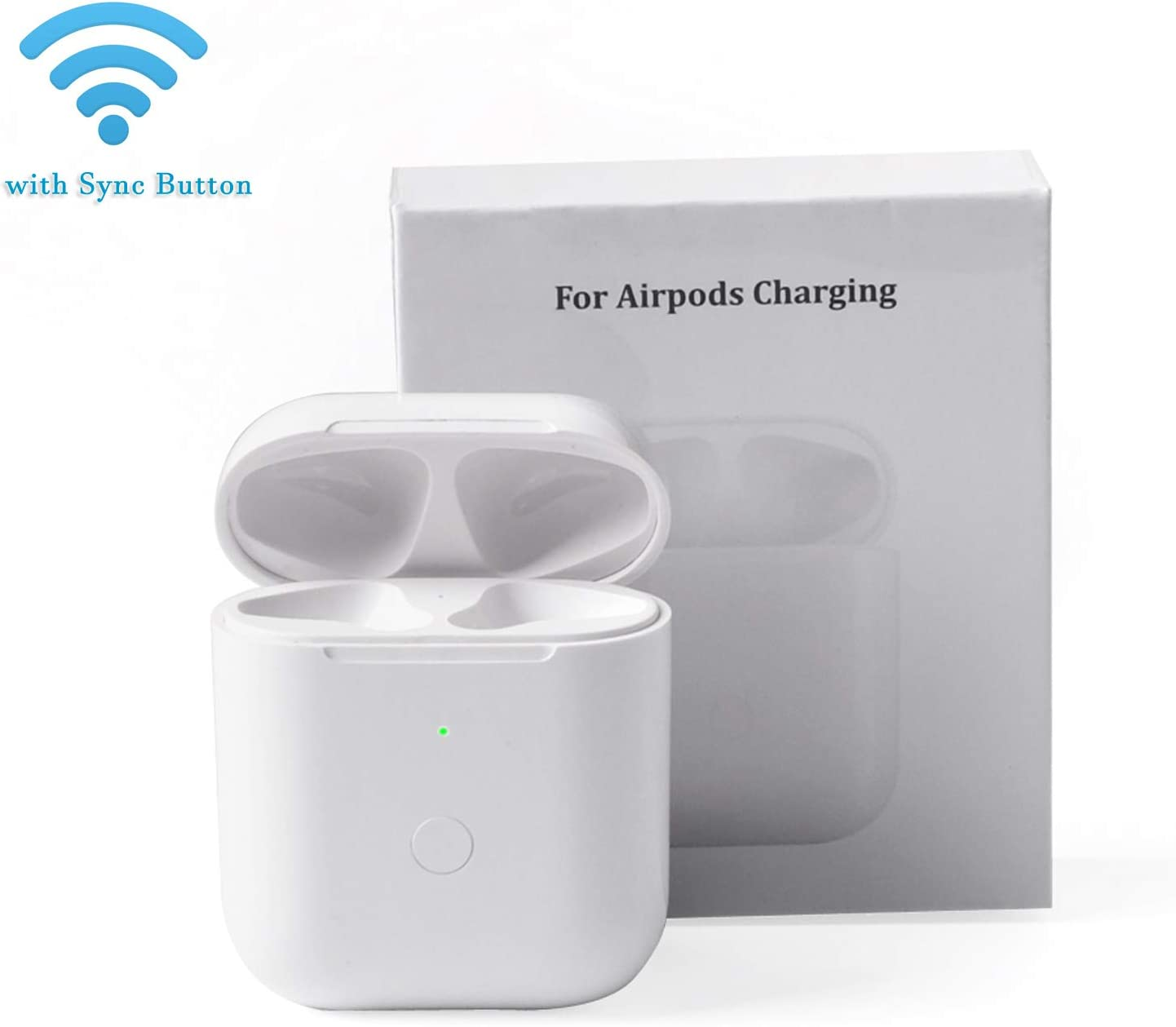 BLEAKTEIR AirPods Charging Case AirPods Charger Case with Sync Button for Charging Air Pod One Tap Set-Up Pairing