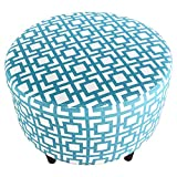 MJL Furniture Designs Sophia Collection Fabric Upholstered Round Footrest Ottoman with Round Espresso Finished Legs, Gigi Series, Regatta