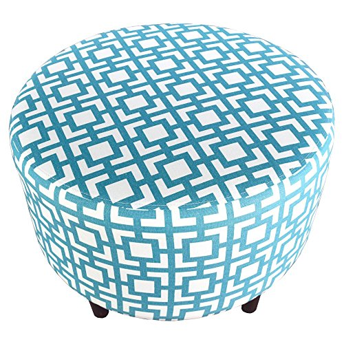 MJL Furniture Designs Sophia Collection Fabric Upholstered Round Footrest Ottoman with Round Espresso Finished Legs, Gigi Series, - Regatta Series