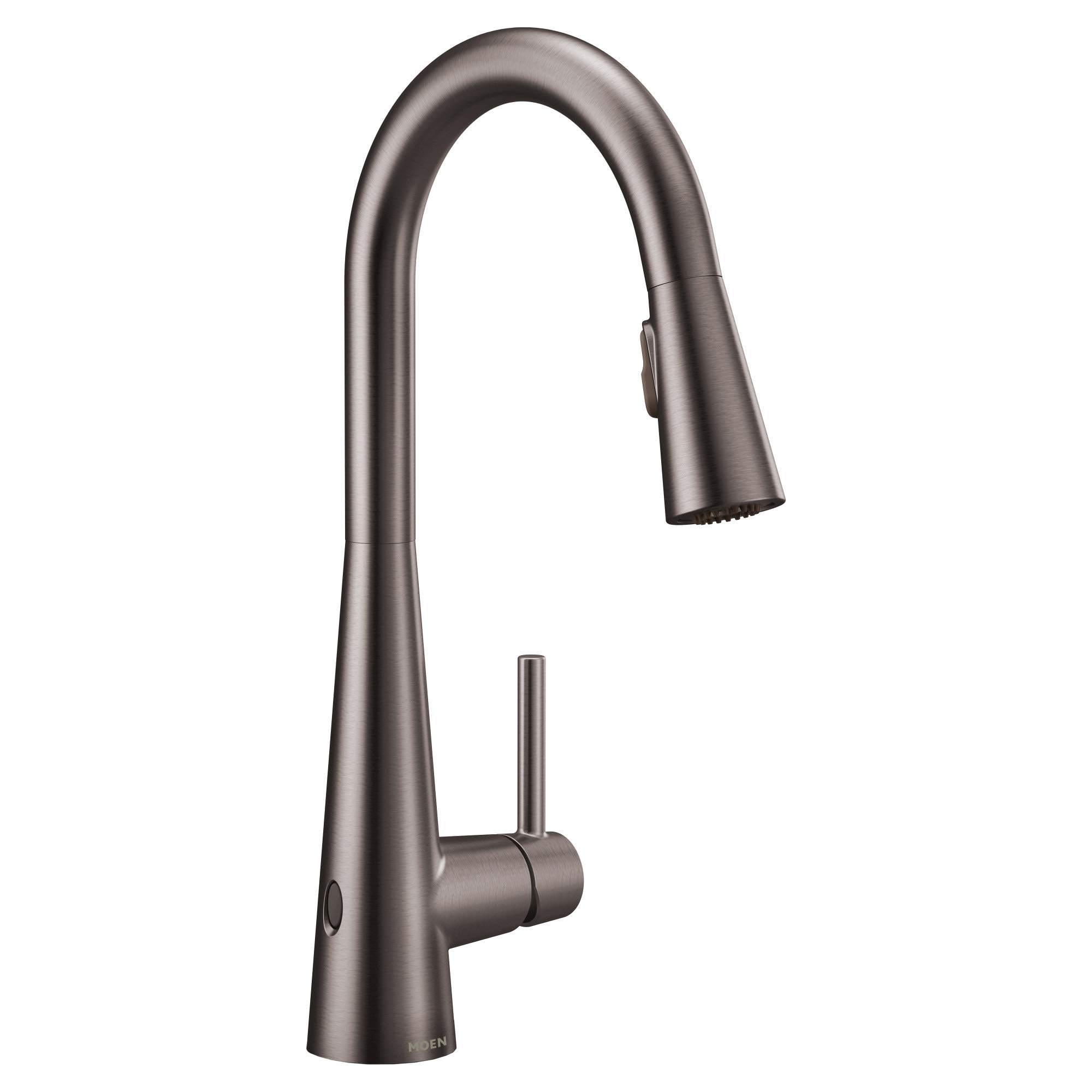 Moen 7864EWBLS Sleek Motionsense Wave Sensor Touchless One-Handle High Arc Pulldown Modern Kitchen Faucet Featuring Power Clean, Black Stainless