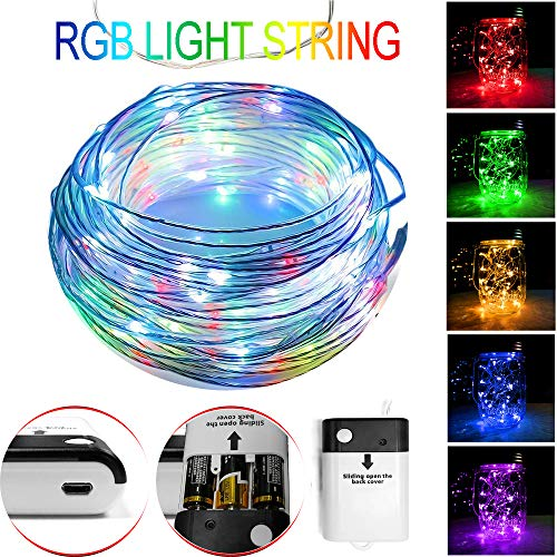 LED String Fairy Light RGB 10 Colors with USB & Battery Powered, 16.4ft/5m 50 Led 28 Modes Copper Wire String Lights for Bedroom Patio Garden Christmas Party Wedding, Indoor and Outdoor