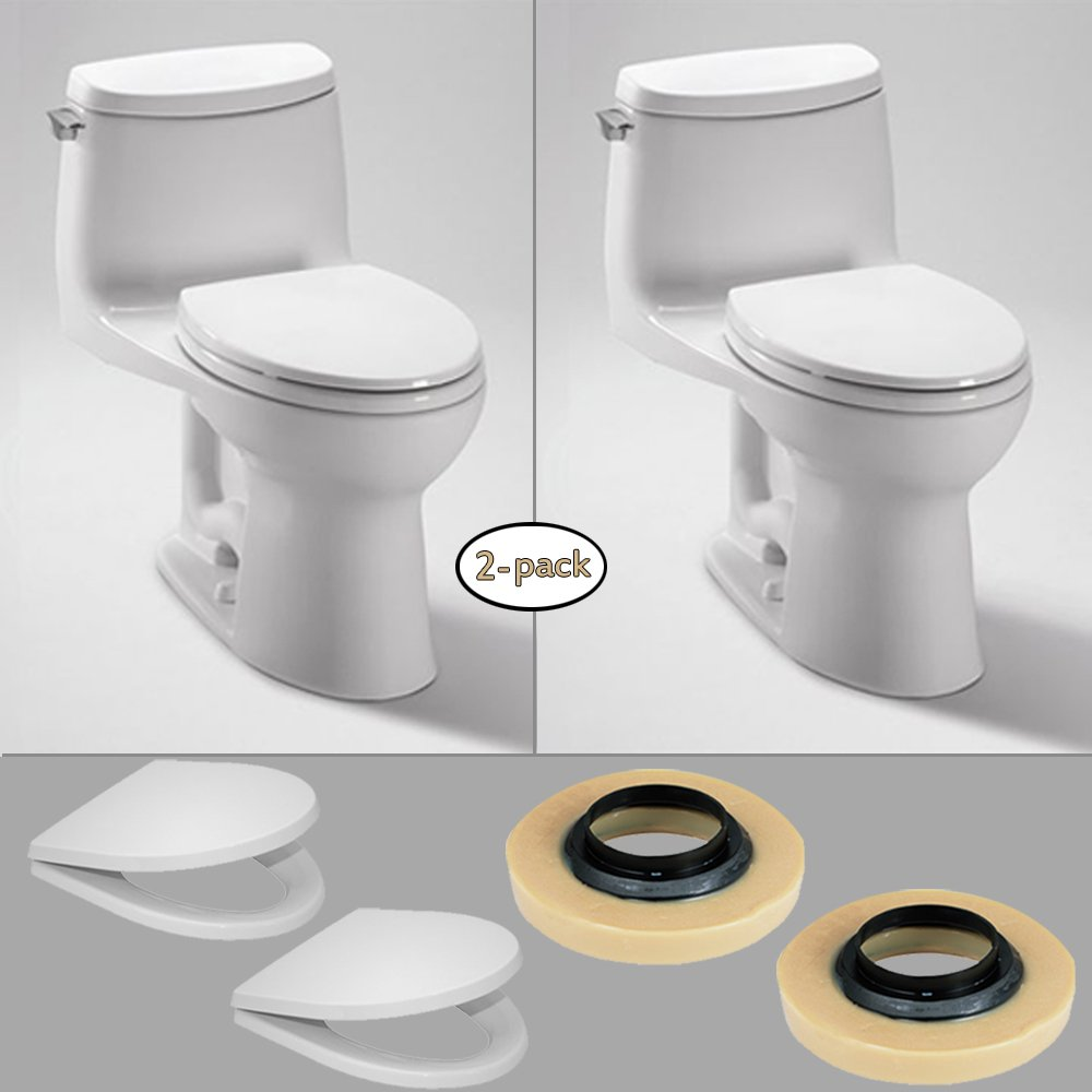 30%OFF TOTO 2 x UltraMax II 1G One-Piece Toilets, 1.0GPF with 2 Wax Rings & 2 Toilet Seats
