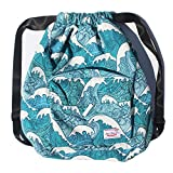 Dry Wet Separated Swimming Bag Floral Waterproof Drawstring Backpack Pool Beach Travel Gym Bag