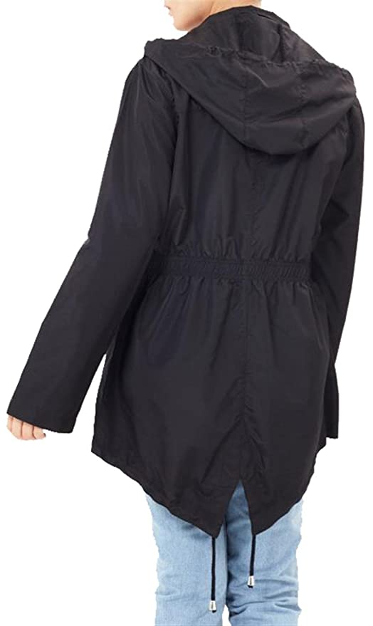d8c6064e965a6 Click Selfie® New Ladies Plus Size Plain Mac Raincoats Waterproof Fishtail  Parka Hooded Jackets 18-24  Amazon.co.uk  Clothing