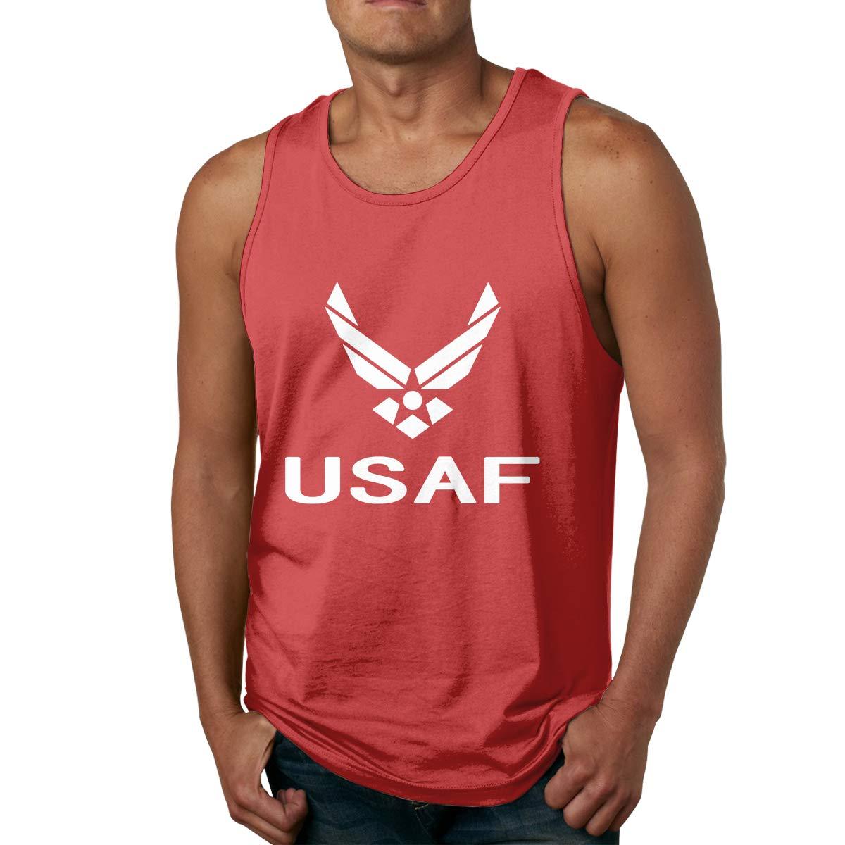 USAF Air Force Mens Printed Vest Sports Tank-Top Tee Leisure Sleeveless Shirt