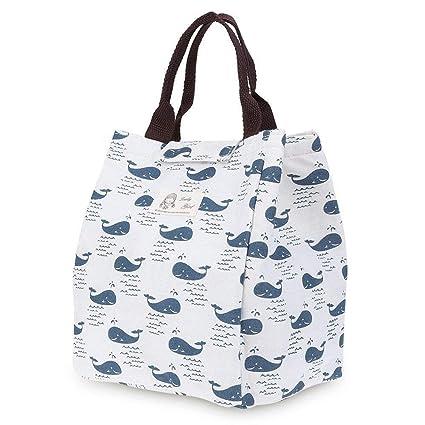 Weimay Bolsa de lona portátil de almuerzo, impermeable personalizado reutilizables bolsas de almuerzo aisladas Almuerzo caja con correa de hombro para ...