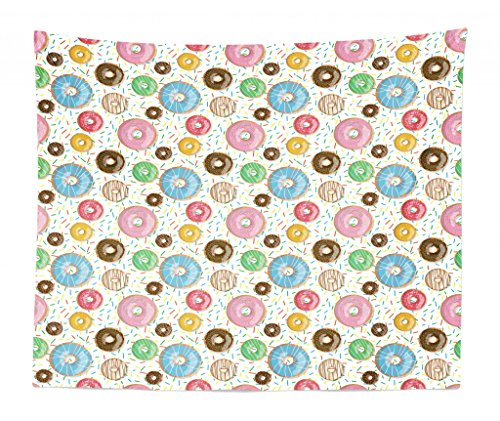 Chocolate Sprinkle Donut (Lunarable Dessert Tapestry King Size, Tasty Chocolate and Cream Glazed Doughnuts with Sprinkles Pattern Delicious Bakery, Wall Hanging Bedspread Bed Cover Wall Decor, 104