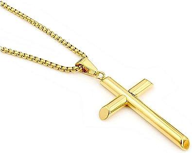 14K Diamond-cut Beveled Edges Cross Pendant
