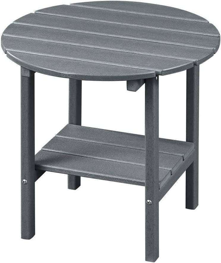 Ehomepert Outdoor Side Table-Adirondack Portable Rectangular End Table for The Beach, Camping, Picnics, Cookouts and More, HDPE Hard Plastic,Grey: Kitchen & Dining