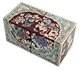 Mother of Pearl Peony Flower Design Jewelry Box Display Nacre Jewellry Case (Red)