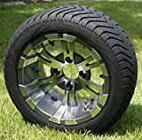 12'' Vampire Gunmetal Aluminum Wheels and 215/40-12 Low Profile DOT Golf Cart Tires Combo - Set of 4