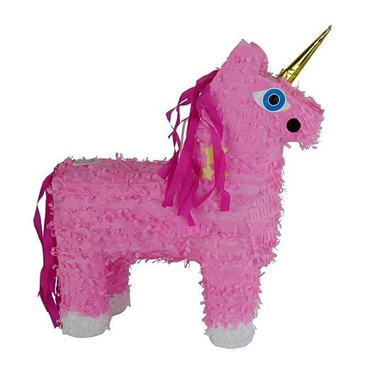 Piñata Unicornio Samira Color Rosa De Papel Maché Para ...