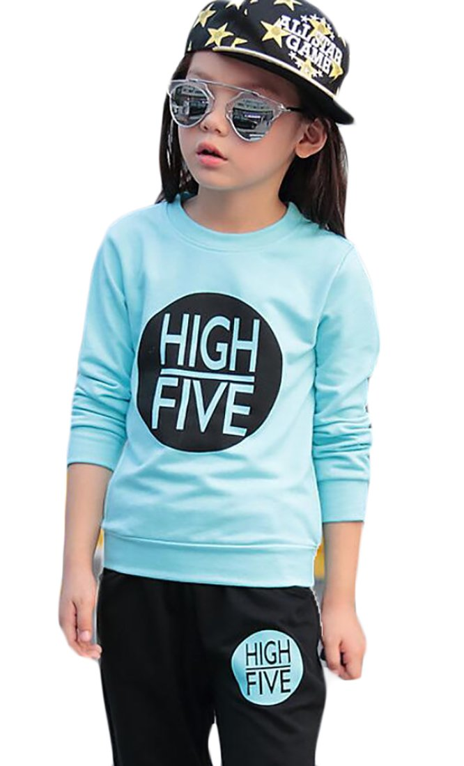 Esast Little Girls Winter Letters Printed Slim Fit Top +Casual Pant Tracksuit Sets 1 5T