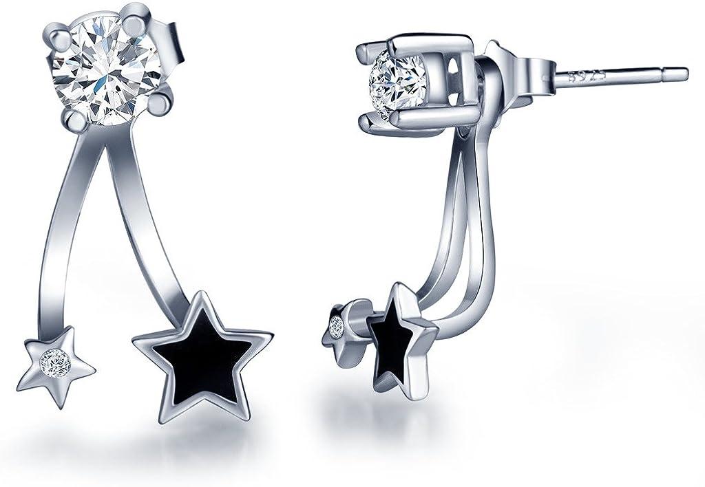 Infinito U - Pendientes de Plata con Estrellas Negras y Diamante, Idea Regalo para Mujer Chicas