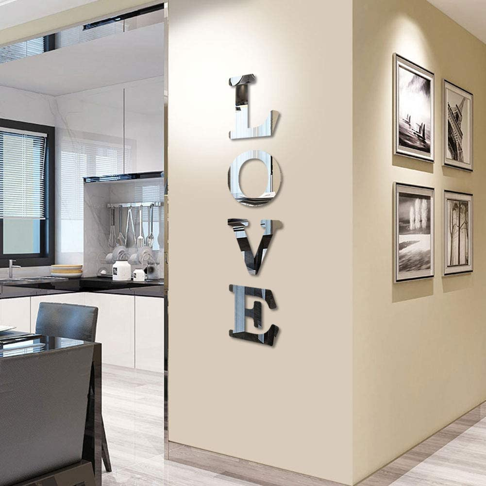 CrazyDeal Love Sign Letters Rustic Farmhouse Wall Decor Acrylic Decorative Mirror Wall Stickers for Living Room Bedroom Kitchen The Home Modern Decorations Large 47x10 Inch