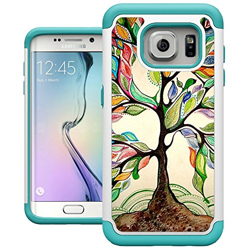 S7 Edge Case, Galaxy S7 Edge Cases, UrSpeedtekLive [Shock Absorption] Dual Layer Heavy Duty Protective Silicone Plastic Cover Case for Samsung Galaxy S7 Edge - Love Tree
