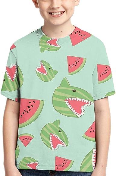 Camisas de Manga Corta de tiburón sandía para niños, Vestido ...