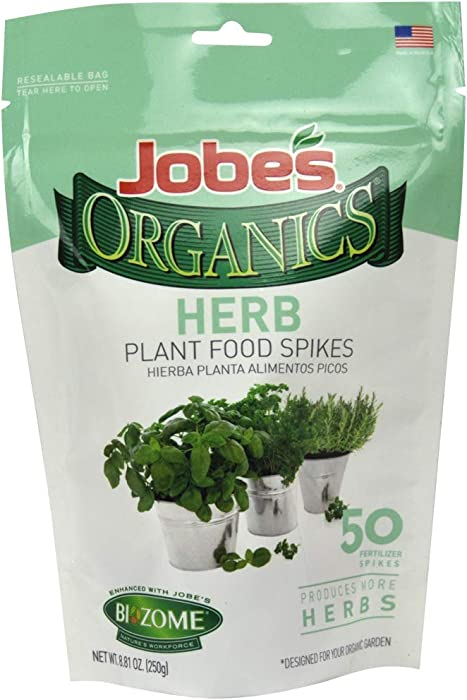 Jobe's Organics Herb Fertilizer Spikes, 50 Spikes