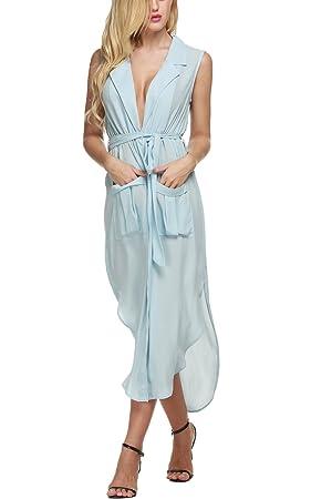 Bluetime Women Summer V Neck Sleeveless Side Slit Oversized Loose T Shirt Dress (L, Light Blue)