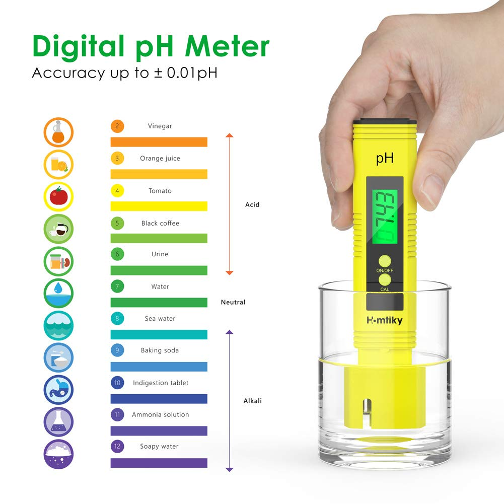Homtiky Medidor pH Digital Agua Potable medidor TDS EC 2 en 1 Temperatura del probador de la Calidad del Agua con Rango de Medida de 0-14 pH 0-9999ppm Calibraci/ón autom/ática para Piscina