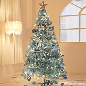 WW&TT Artificial Flocked Christmas Tree,pre-Bed Hinged Easy Assembly National Tree Fir Xmas Tree with Foldable Metal Stand for Decor-Blue 3.9ft(120cm)