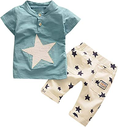 Fabal Toddler Baby Boys Tie Print T-Shirt Tops Camouflage Shorts Outfits Clothes Set